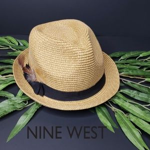 Nine West Straw Fedora Tan Black